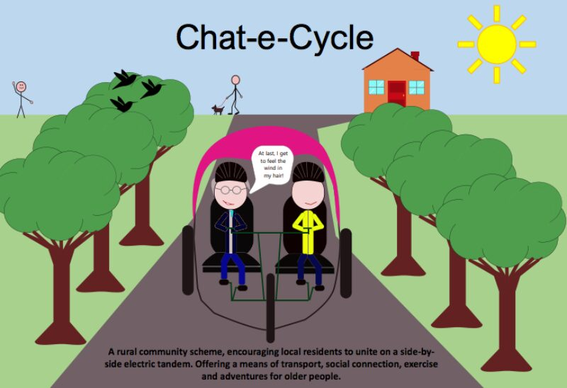 Kate Mattick's proposal was on 'Chat-e-Cycle', a design of a tandem e-bicycle linked to a community scheme allowing residents to unite on a side-by-side experience for transport, exercise and social connection in rural areas
