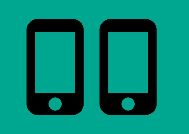 Two line drawings of mobile phones, on a mint green background.