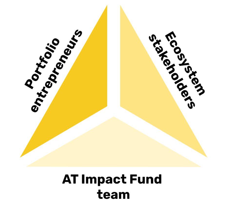 AT Impact fund triangle - portfolio entrepreneurs, ecosystem stakeholders, AT impact fund team