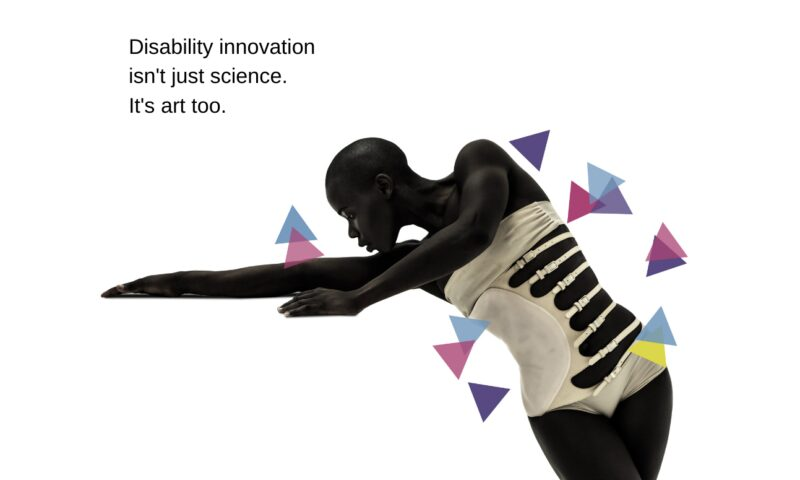 An image of a dancer, who is holding a position across a white background, with colour triangles decoratively placed around the figure. Text reads Disability Innovation isn't just science, it's art too