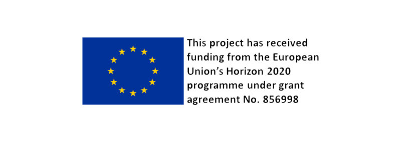 EU flag, with informing that the funding for the project comes from the european union H2020 scheme