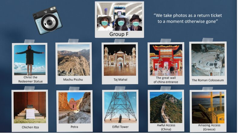 Graphic of Group F photo competition. Polaroid style photographs taken from the groups interpretation of potential new seven wonders of the world