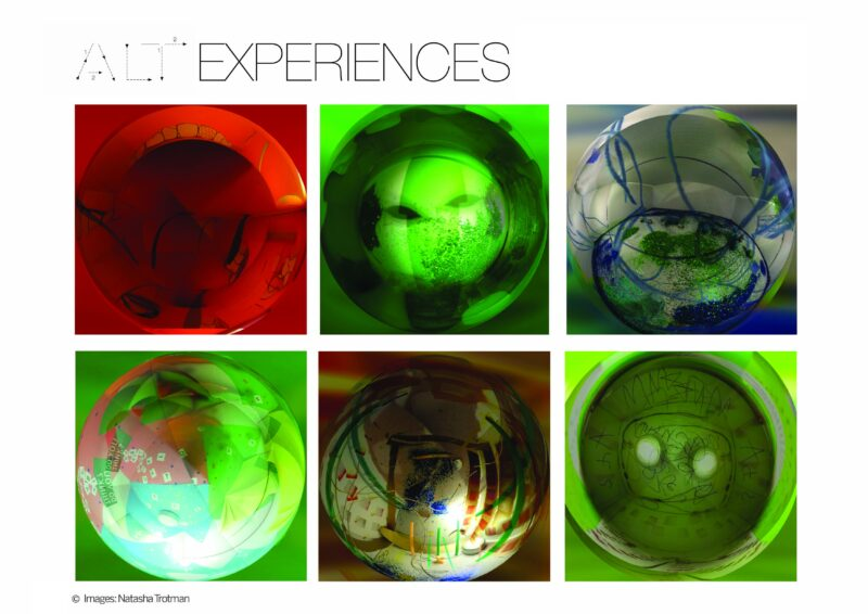 A collage of 9 coloured spheres, red, green, blue and white, green and pink,  brown and dark green, light green and white