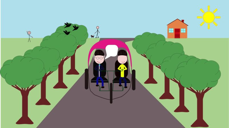 A cartoon of two men cycling down a road on a sunny day
