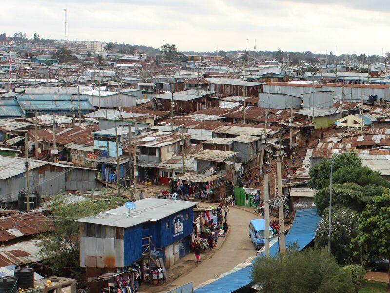 Aerial view of informal settlement in Nairobi, Kenya