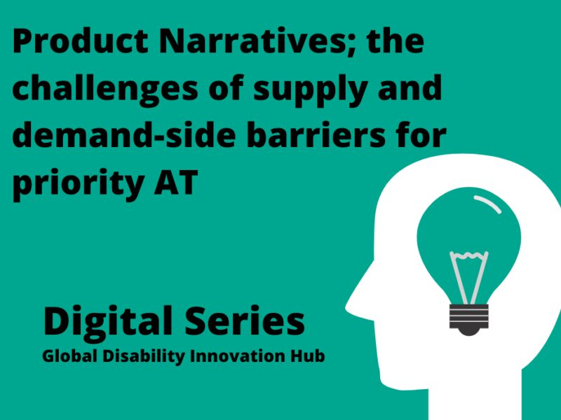 Promo banner. Text reads: product narratives; the challenges of supply and demand-side barriers for priority AT