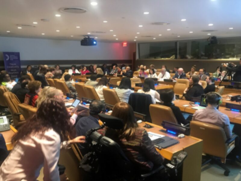 A rear view of a crowded room in the UN, people are sat at desks addressing a panel at front