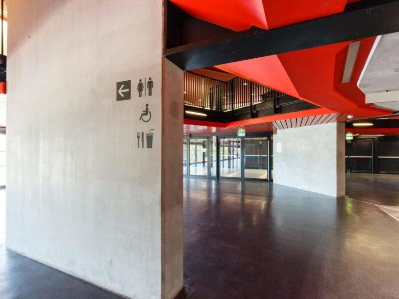 Copper Box building hall. Wall shows inclusive design.