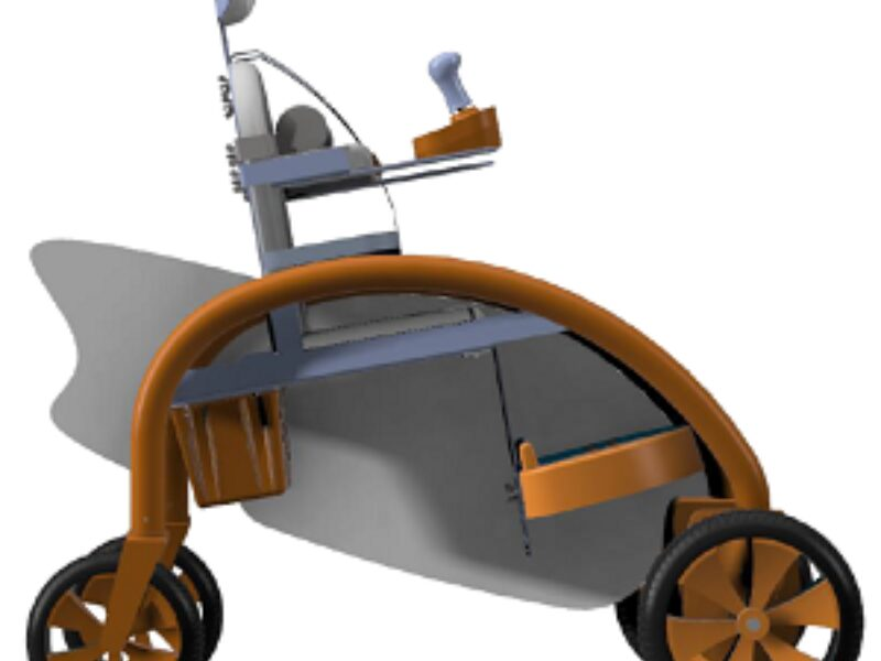 Affordable powered mobility toy for young children, with panels for children to paint on and a simple seat design.