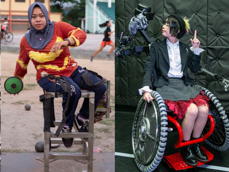 This image is composed of series of pictures showing how technologies used by people with disabilities have changed over the years. From left to right there are: a picture showing a paralimpic archer competing on his wheelchair in Tokyo 1964, a paralympic disk thrower training for Tokyo 2020, a researcher from the Keio School of Media Design sitting on a wheelchair that features robotic arms, and an upper limb amputee using is guitar prosthetic arm to play music
