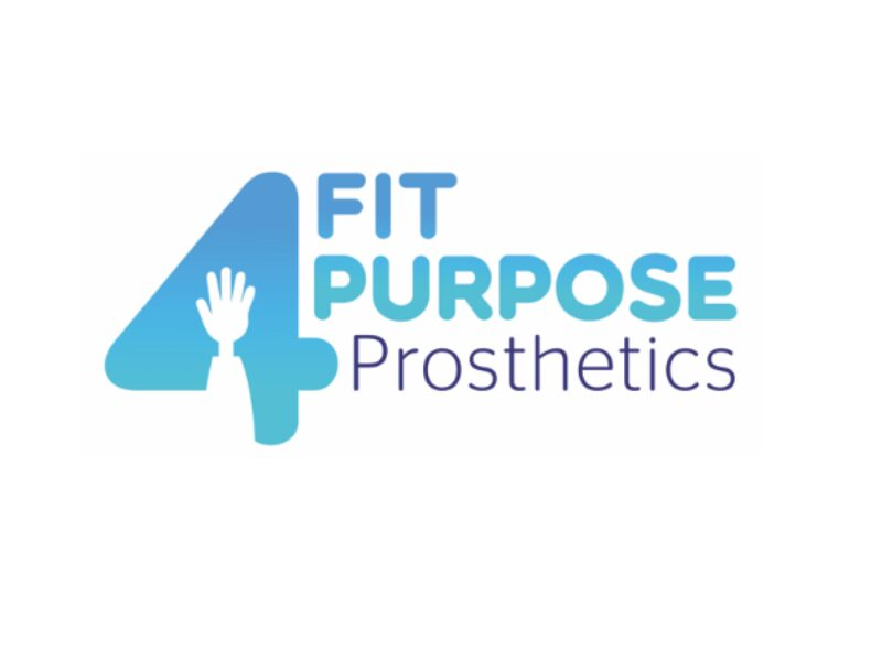Logo of the title of the project: fit for purpose prosthetics. For is represented by the number four which in the center has a hand with half an arm that appear to be a prosthetic.