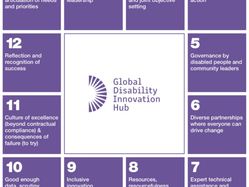 12-step London 2012 Disability Inclusion Model: Graphic text includes the following 12 steps positioned in a square shape around the GDI Hub logo. 1. community leaders articulation of needs and priorities, 2. P/political leadership, 3. Clear mission and joint objective setting, 4. Time limited action, 5. Governance by disabled people and community leaders, 6. Diverse partnerships where everyone can drive change, 7. Expert technical assistance and mainstreamed training, 8. Resources, resourcefulness and tools, 9. Inclusive innovation encouraged, 10. Good enough data, scrutiny and progress management, 11. Culture of excellence (beyond contractual compliance) & consequences of failure (to try), 12. Reflection and recognition of success