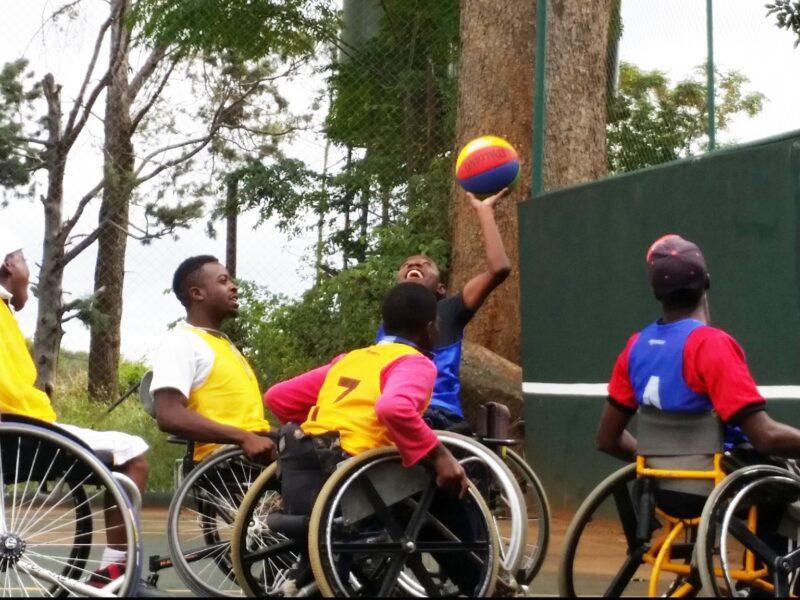 A group of wheelchair athletes playing basketball. Photo credit: NM Foundation Zimbabwe
