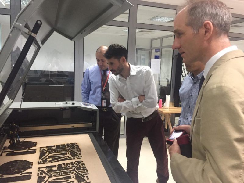 Iain and Tim visiting our partners at the British Council in Egypt - examining one of their latest technological projects.