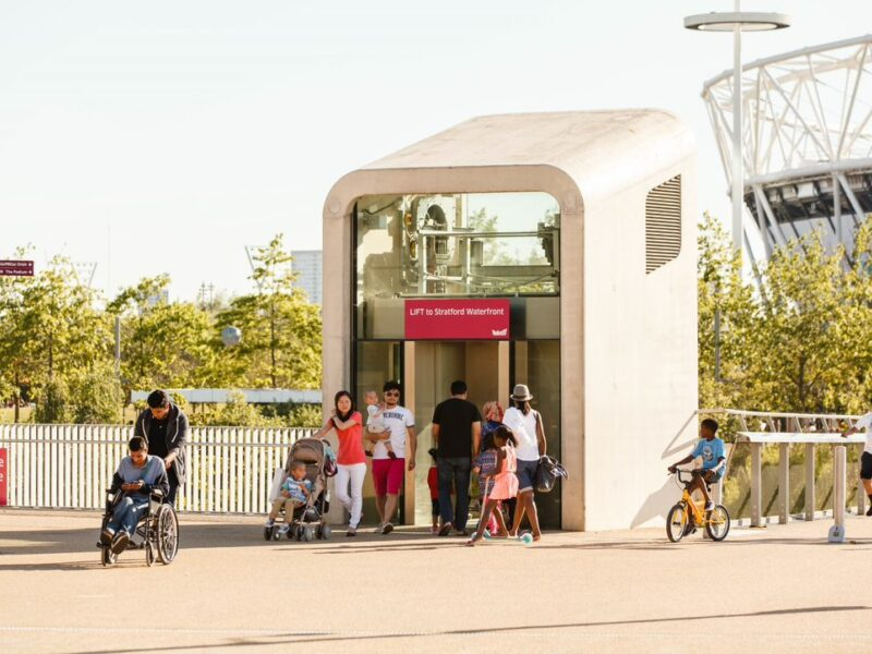 Lift in the Olympic Park showing accessible access.