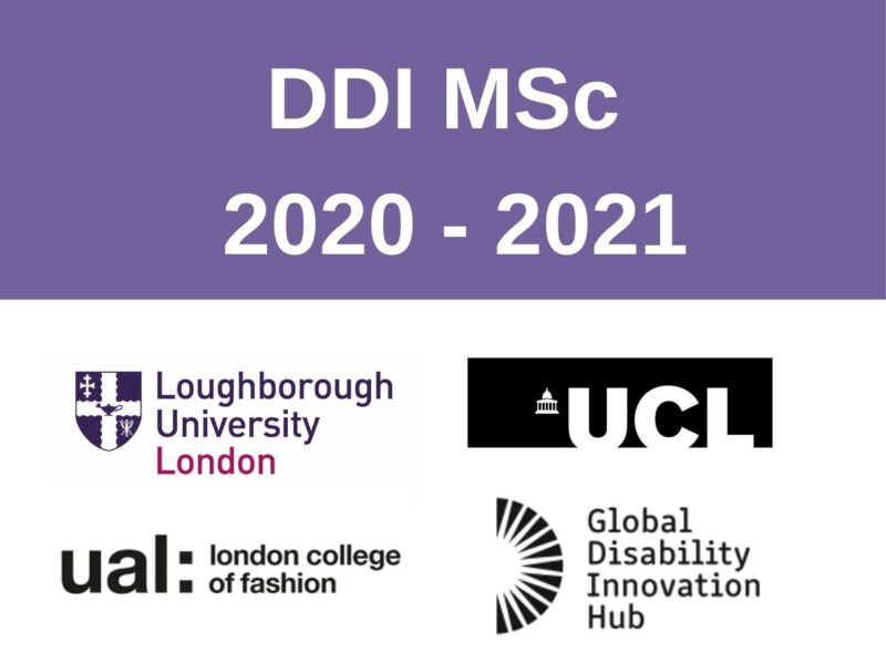 DDI MSc 2020 - 2021. 4 logos of loughborough university london, UCL, UAL and GDI Hub