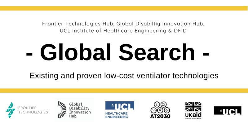 Banner with partners logos. Text reads: Global Search: existing and proven low-cost ventilator technologies.