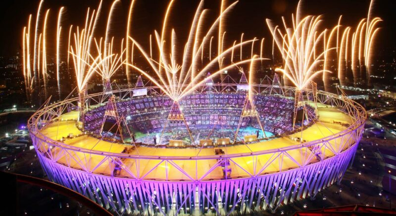 Fireworks over the Olympic Stadium