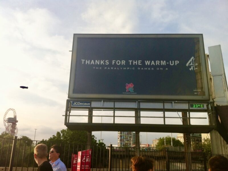 Billboard of Channel 4 reads: Thanks for the warm-up