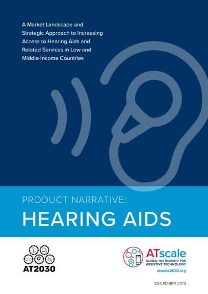 Coverpage of Product Narrative Hearing Aids with an image of a hearing aids and AT2030 and ATscale logos
